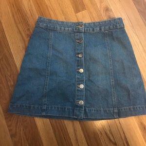 NWT button down denim blue mini skirt
